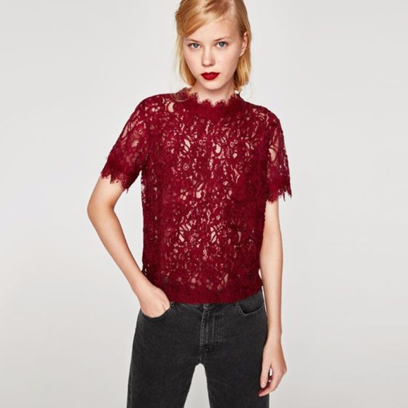 13bd8d7a8d6 Zara burgundy embroidered lace top NWT